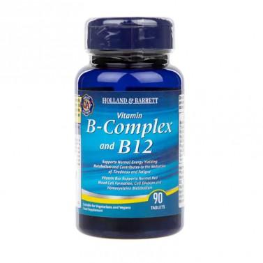 Витамин Б комплекс и B12 / Vitamin B-Complex and B12 HOLLAND AND BARRETT  - 90 Таблетки