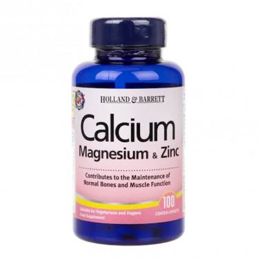 Калций, магнезий и цинк / Calcium Magnesium & Zinc HOLLAND AND BARRETT - 100 Таблетки