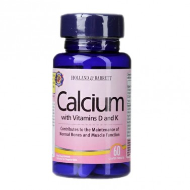 Калций, витамин Д3 и витамин К /  Calcium with Vitamins D3 and K HOLLAND AND BARRETT - 120 Таблетки