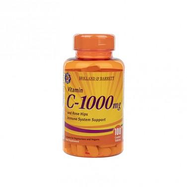 Витамин Ц / Vitamin C с шипки и биофлавоноиди 1000mg HOLLAND AND BARRETT - 100 Капсули