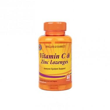 Витамин Ц и цинк / Vitamin C & Zinc подкрепа на имунната система HOLLAND AND BARRETT - 60 Таблетки за смучене