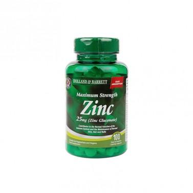Цинков глюконат / Zinc Gluconate 25mg HOLLAND AND BARRETT - 100 Таблетки