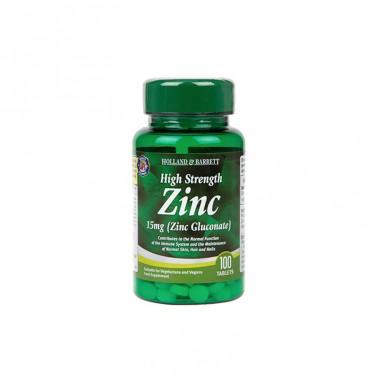 Цинков глюконат / Zinc Gluconate 15mg High Strength HOLLAND AND BARRETT - 100 Таблетки