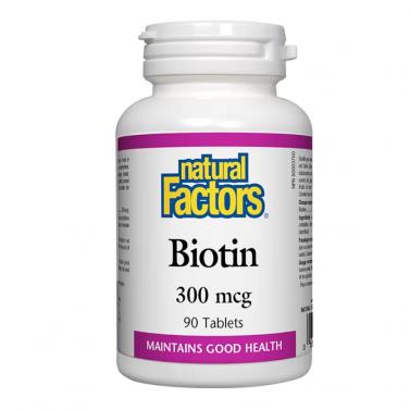 Биотин / Biotin 300 mcg Natural Factors - 90 таблетки