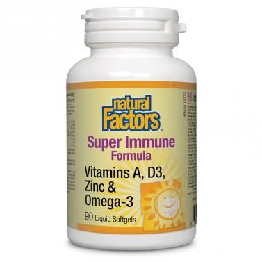 Super Immune Formula Витамини А и D3, цинк и омега-3 Natural Factors - 90 софтгел капсули