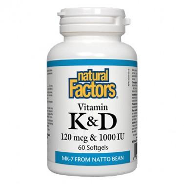 Витамин K 120 mcg & Витамин D 1000 IU Natural Factors