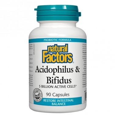 Ацидофилус бифидус, 5 милиарда активни пробиотици / Acidophilus & Bifidus Natural Factors - 90 капсули