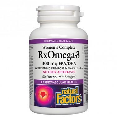 Формула с рибено масло и други природни съставки / RxOmega-3 Women's Complete (300 mg EPA/DHA) Natural Factors - 60 софтгел капсули