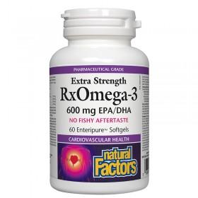 Рибено масло / RxOmega-3 Extra Strength 1170 mg (600 mg EPA/DHA) Natural Factors - 60 софтгел капсули