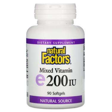 Витамин Е / Vitamin E токоферил ацетат 200 IU Natural Factors - 90 Капсули