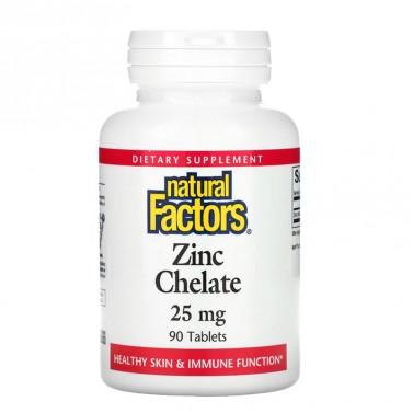 Цинк Хелат / Zinc Chelate 25 mg Natural Factors - 90 Табелтки