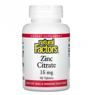 Цинк Цитрат / Zinc Citrate 15 mg Natural Factors - 90 Табелтки