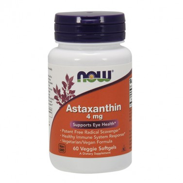 Астаксантин / Astaxanthin 4mg Now Foods - 60 Вега меки капсули