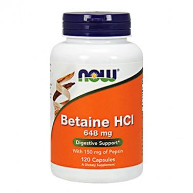 Бетаин хидрохлорид / Betaine HCL 648 mg NOW - 120 Капсули