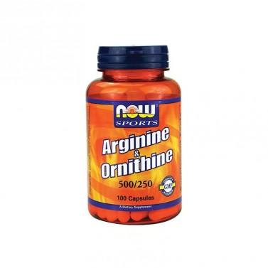 Л-аргинин и орнитин / Arginine & Orotonine 500mg - 250mg NOW - 100 Капсули