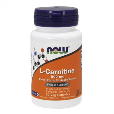 L-карнитин / L-Carnitine 500 mg  NOW - 30 / 60 Вега капсули