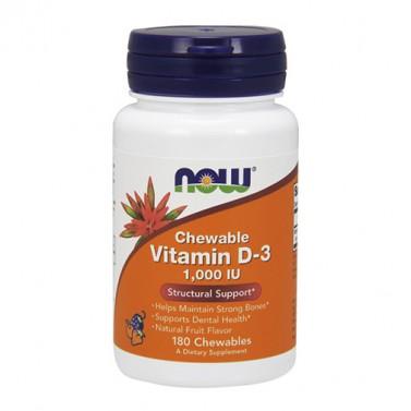 Витамин D-3 / Vitamin D3 1000 IU NOW - 180 Дъвчащи таблетки