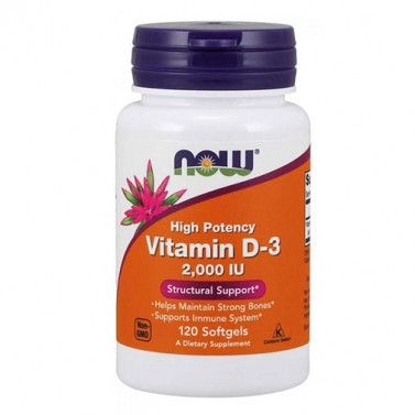 Витамин D3 / Vitamin D3 2000 IU NOW - 120 Mеки капсули
