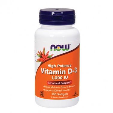 Витамин D3 1000 IU NOW - 180 Меки капсули
