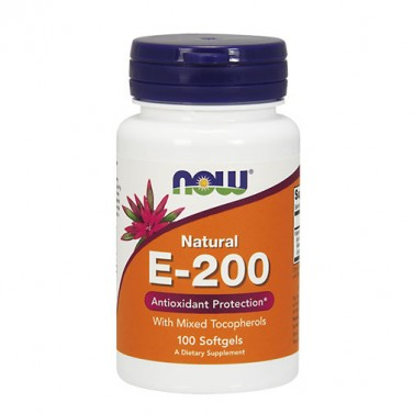 Витамин E 200 IU / смесени токофероли NOW - 100 Меки капсули