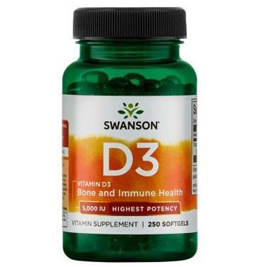 Витамин Д3 / Vitamin D3 Highest Potency 5000IU SWANSON - 250 Меки капсули